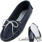 Womens / Ladies Genuine Leather Unlined Navy and White Moccasin Slippers