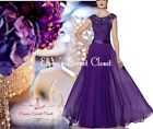 BRYONY Cadbury Purple Lace Chiffon Maxi Bridesmaid Ballgown Dress UK Sizes 6 -18