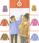 Girls Unlined Jacket Vest Sewing Pattern Front Button Closure Hood Collar 4220