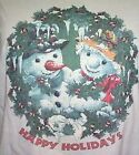 NEW Womens Unisex White Snowman HAPPY HOLIDAYS Wreath Fleece Sweatshirt - M - 2X