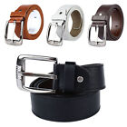 New Mens Womens PU Leather Casual Belt Square Silver Buckle Plain Waist Belts
