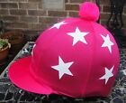 Riding Hat Silk Skull cap Cover HOT CERISE PINK * WHITE STARS With OR w/o Pompom