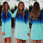 new Fashion Women Casual Gradient Blue Long Sleeve  Cocktail Party Mini Dress
