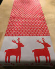 """54"""" CHRISTMAS REINDEER TABLE RUNNER-in NORDIC SCANDI red white  fully lined xmas"""