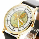 New Women Girls Dress Stylish Map Pattern Imitation Leather Quartz Wrist Watch