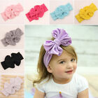 Cute Girls Kids Baby Solid Bow Hairband Headband Stretch Turban Knot Head Wrap