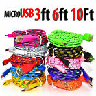 3ft-10ft Braided Micro USB Cable Data Sync Charger Cord For Android Cell Phone