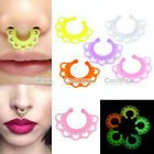 2x Acrylic Glow In The Dark Fan Fake Septum No Piercing Hanger Clip On Nose Ring
