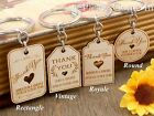 Personalised Engraved White Wooden Keychain Wedding Favours