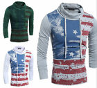 Stylish Mens Casual Long Sleeve Shirts Slim Fit USA Flag T-Shirt Tops Blouse New