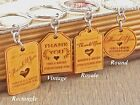 Personalised Engraved Gold Wooden Keychain Wedding Favours