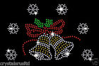 Christmas Bell With Snowflake Crystal Christmas Festive iron on Hotfix Applique