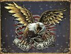 New American Eagle Live To Ride Metal Tin Sign