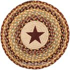 Burgundy Star Round Chair Pad with 2 Tie Ribbons Hand Printed Braided Jute