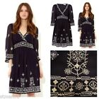 NEW MONSOON CRISTABEL DRESS RETRO 70'S VTG CHIFFON NAVY BLUE WHITE BOHO 8 - 20