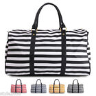 Womens Shoulder Bag Tote Duffel Luggage Travel Stripe Boston Bag Shoulder Strap