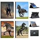 Black Strong Beauty Horse Stallion  Folio Cover Leather Case For Apple iPad