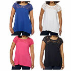 DKNY Jeans Ladies Short Sleeve Floral Lace Top Choose Size & Color