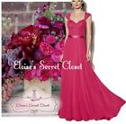 RIVA Fuchsia Pink Lace Chiffon Maxi Bridesmaid Ballgown Dress Sizes UK 6 -18