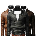 Men's New Jackets Stand Collar Slim Motorcycle Leather Zipper Coat Outwear USHF