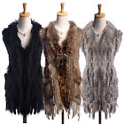 Real Knitted Rabbit Fur Waistcoat Fur Collar With Tassels Gilet Jacket Black