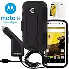 Full Body Armor Beltclip Holster Case + Car Charger For Motorola Moto E2 2nd Gen