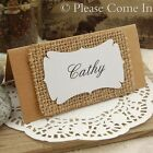Personalised Kraft/Burlap Place Cards for Country Chic/Rustic Hessian Wedding