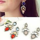 1 Pair Elegant Women Fashion Rhinestone Resin Dangle Ear Stud Earrings Jewelry