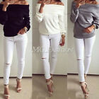 Fashion Women Lady Sexy Off Shoulder Casual Long Sleeve Slim T-Shirt Top Blouse