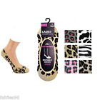 Ladies/Girls shoe liners/invisible socks size 4-7 animal prints 6 dif colours