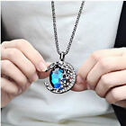 Retro Women Jewelry Blue Crystal Moon Long Pendant Sweater Chain Necklace