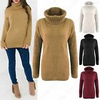 NEW WOMENS COWL POLO NECK FLUFFY CHUNKY KNIT JUMPER LADIES THICK KNITTED SWEATER