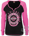 Harley-Davidson Ladies Notched Neck Black & Pink Raglan Long Sleeve T-Shirt
