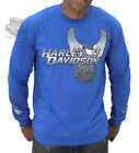 Harley-Davidson Mens Metal Shine Upwing Eagle B&S Blue Long Sleeve Biker T-Shirt