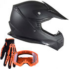 Youth Motocross Kids Helmet Offroad Matte Black Orange Goggle Glove Dirtbike ATV