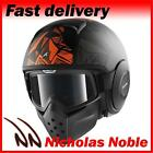 SHARK RAW DANTE MAT Black Orange OPEN FACE STREET FIGHTER MOTORCYCLE HELMET