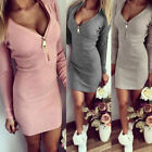 Sexy Womens Ladies Zip V Neck Long Sleeve Slim Bodycon Party Evening Mini Dress