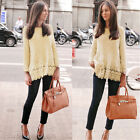Fashion Women Vest Top Long Sleeve Blouse Casual Tank Tops T-Shirt Lace Pullover