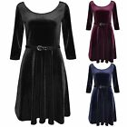 NEW WOMENS VELVET LOOK SKATER DRESS 3/4 SLEEVE BELTED VELOUR LADIES FLARED SKIRT