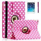 For Apple iPad Air 1 - 360 Premium PU Leather Smart Case Polka Dot Rosy Pink