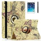 For Apple iPad Air 1 - 360 Rotating Premium PU Leather Smart Case Map 01
