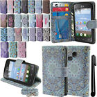 For LG Sunrise L15G Lucky L16C Flip Wallet LEATHER POUCH Case Phone Cover + Pen