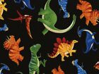 Timeless Treasures Tossed Dinosaurs Poplin Quilting Fabric (C3064-Black-M)