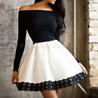 New Sexy Ladiesl Long Sleeve Evening Party Short Mini Lace High-waisted Dress