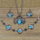 1SET New Jewelry Tibetan Silver Ladybird Turquoise Necklace Earrings Bracelet