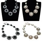 New Fashion Jewelry Round Resin Pearl Crystal Collar Bib Charm Party Necklace