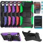Phone Case For HTC Desire 625 Tempered Glass Screen Holster Rugged Cover Stand