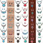 Clearance Turquoise Tibetan Silver Plated Hook Earrings Necklace Jewelry Sets