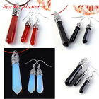 Vintage Beauty Gemstone Column Pendulum Healing Dangle Earrings + Pendant Set