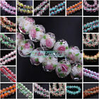 6pcs Charms Flowers Lampwork Glass Loose Finding Spacer Beads 35 Color 10mm/12mm